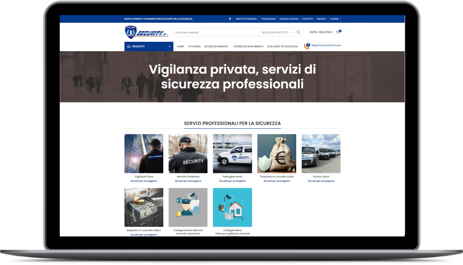 STORE SECURITY - PRIMO ECOMMERCE SPECIALIZZATO NELLA SICUREZZA -Isitituto di Vigilanza Roma Security.it
